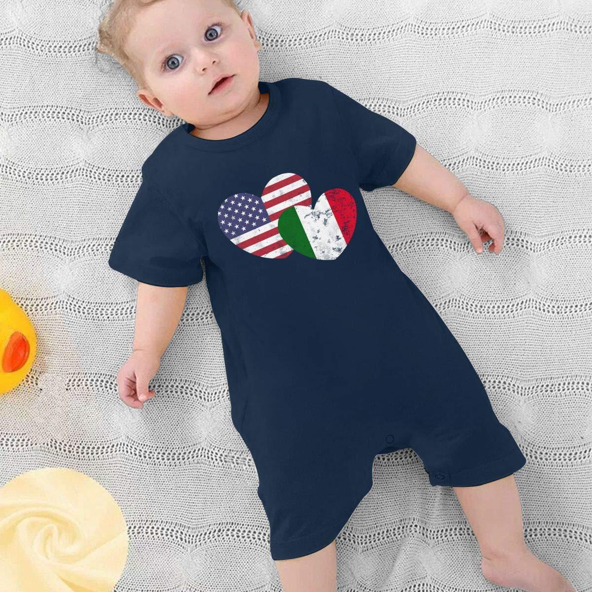 Italian American Flag Love Baby Boy Girl Short Sleeve Bodysuit Organic Coverall 0-24 Months