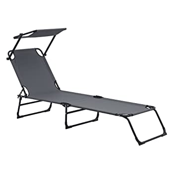 [casa.pro] Tumbona plegable 190cm gris oscuro con techo - acero - hamaca de playa, para jardín, silla reclinable piscina