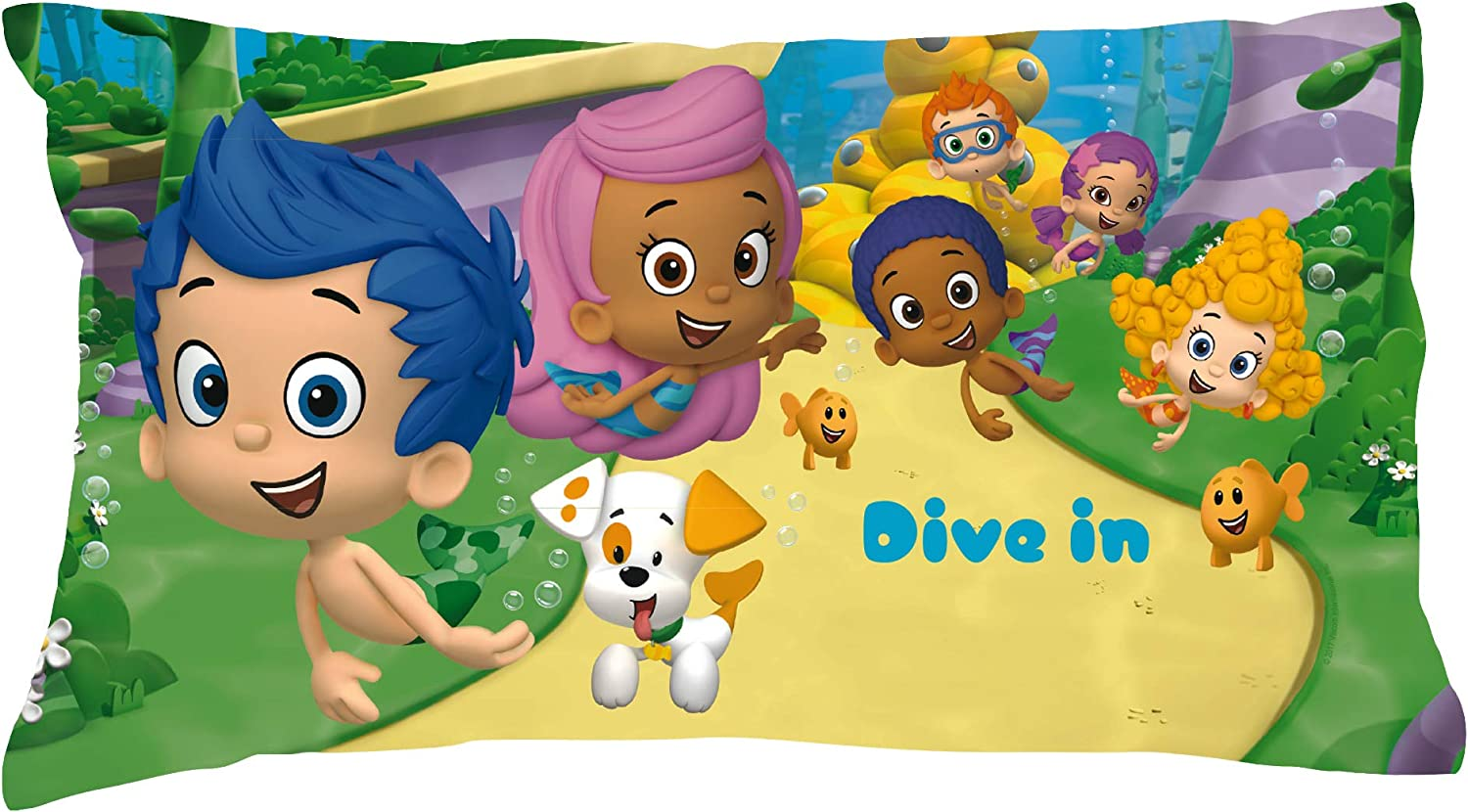20x31 STD//Queen Official Licensed Product Personalized Bubble Guppies Pillowcase Dive in on Multicolor Cover