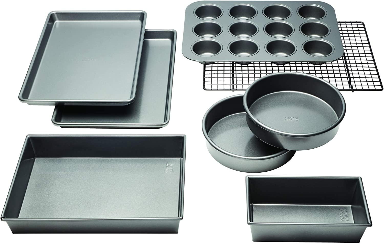 Chicago Metallic Professional Non-Stick 8-Piece Bakeware Set, Silver: Kitchen & Dining