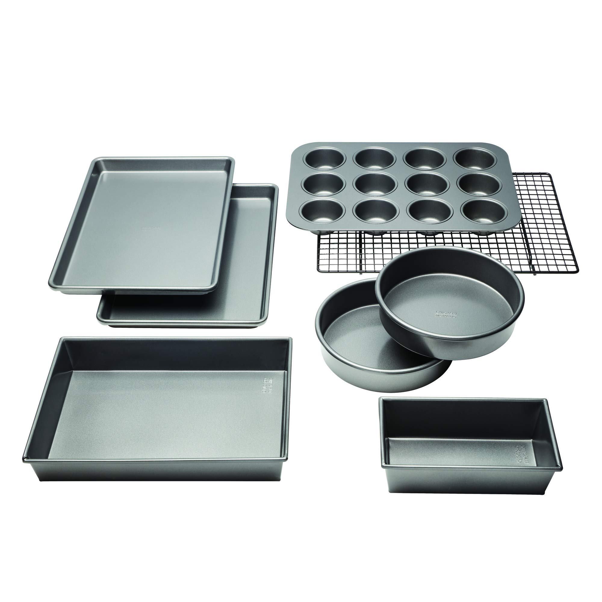 Chicago Metallic 5229030 Professional Non-Stick 8-Piece Bakeware Set Silver