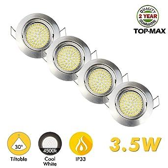 4 x TOP-MAX empotrable techo iluminación foco Downlight montaje acabado en cromo cepillado inclinable versión ...