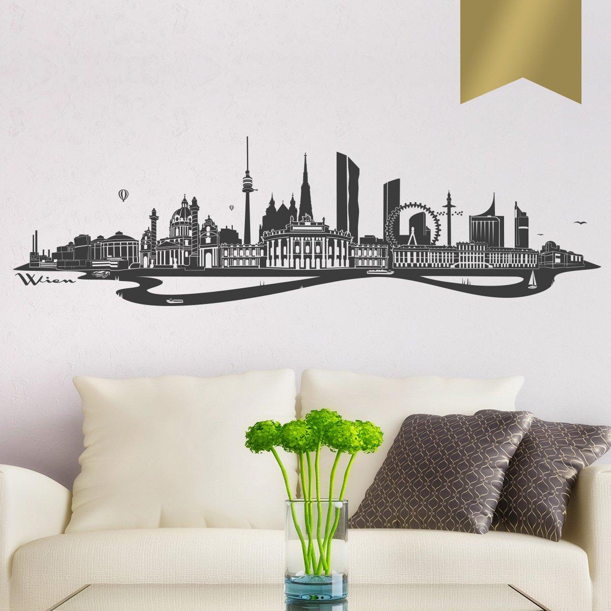 WANDKINGS Wandtattoo - - - Skyline Wien (mit Fluss) - 300 x 86 cm - Mittelgrau - Wähle aus 6 Größen & 35 Farben B078SGXKHW Wandtattoos & Wandbilder 0e9935