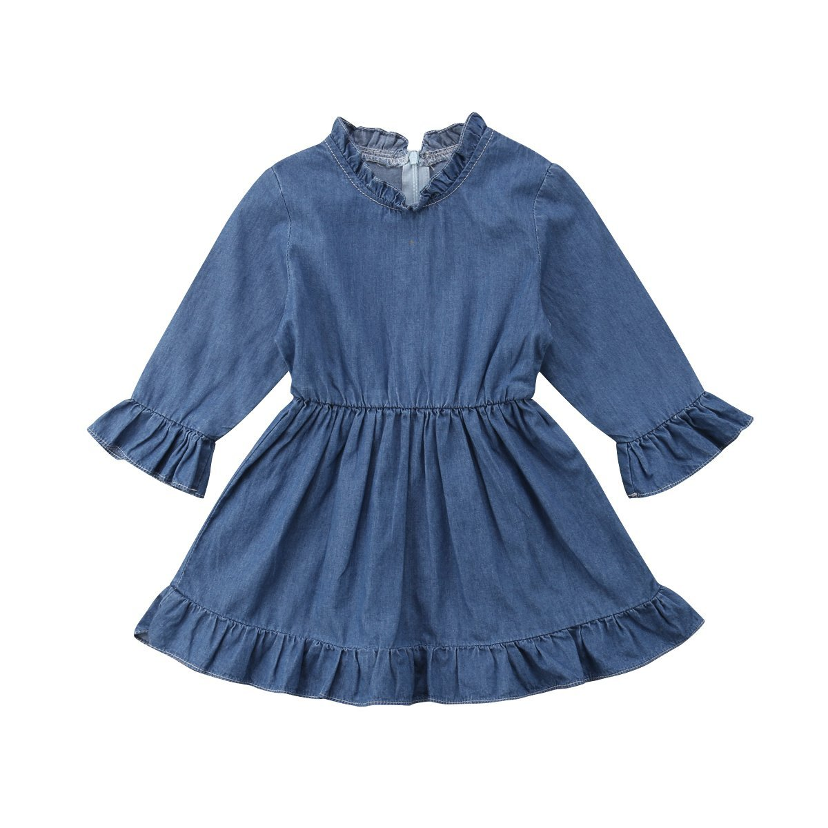 Mubineo Baby Girl Newborn Infant Fall Demin Ruffle Long Sleeve Tutu Dress