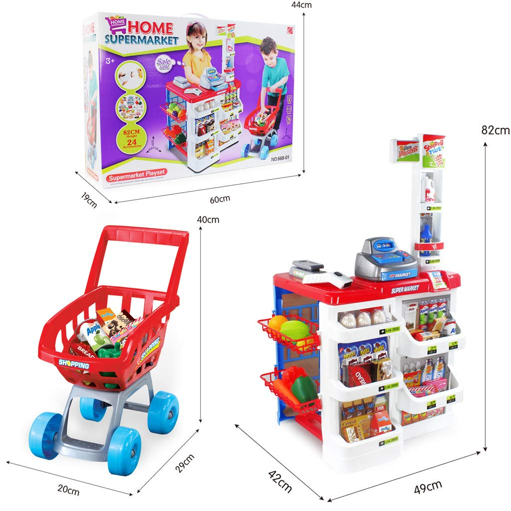 TKI-S 33 Pieces Kids Toy Supermarket Cash Register Shop Trolley Accessories - Shopping cart, Cash Register, Scale,Scanner, 8X Fruits and Vegetables, 4X Drinks, 3X Eggs, 8X Boxed Food, 6X Money by TKI-S (Image #8)