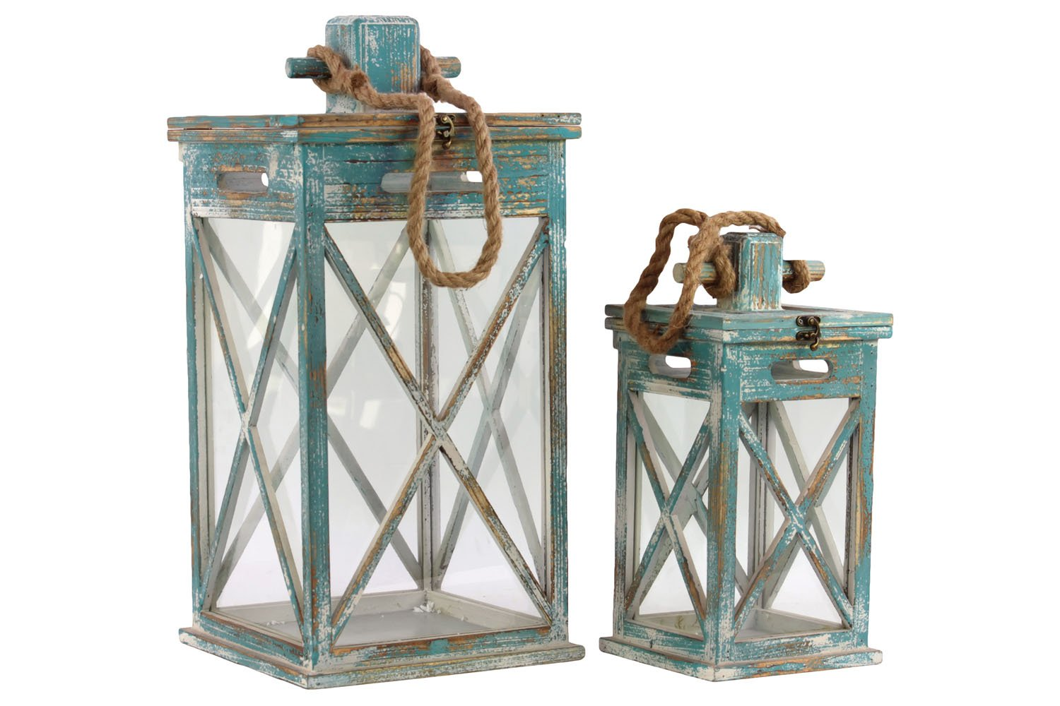 Urban Trends 26108 Wooden Lantern with Rope Hanger Set of Two Tinted Wood Finish Turquoise