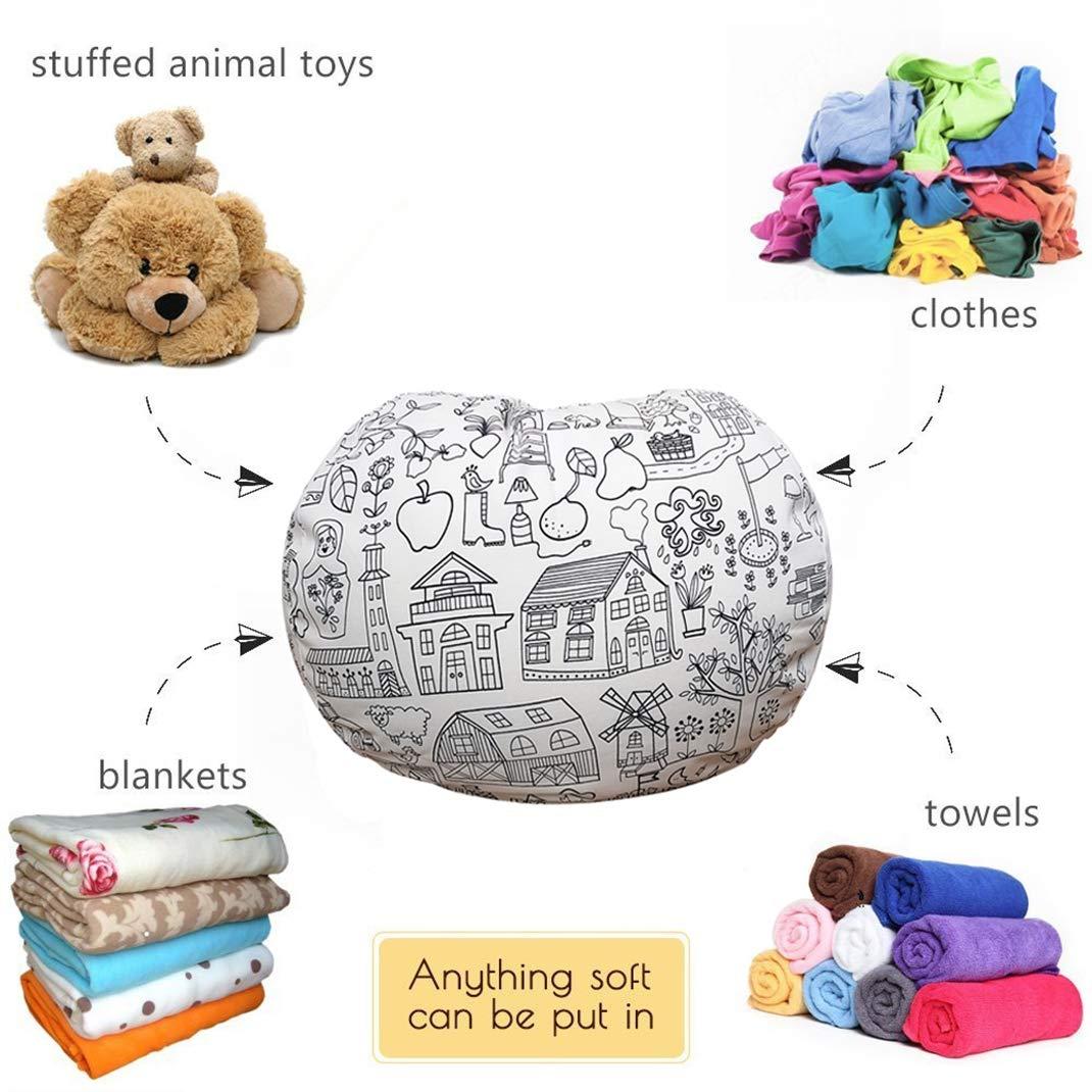 Lukeight Stuffed Animal Storage Bean Bag Chair Fits a Lot of Stuffed Animals Bean Bag Cover for Organizing Kid/'s Room Large//Brown