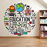Wallstick 'Education' Wall Sticker (Vinyl, 49 cm x 4 cm x 4 cm)