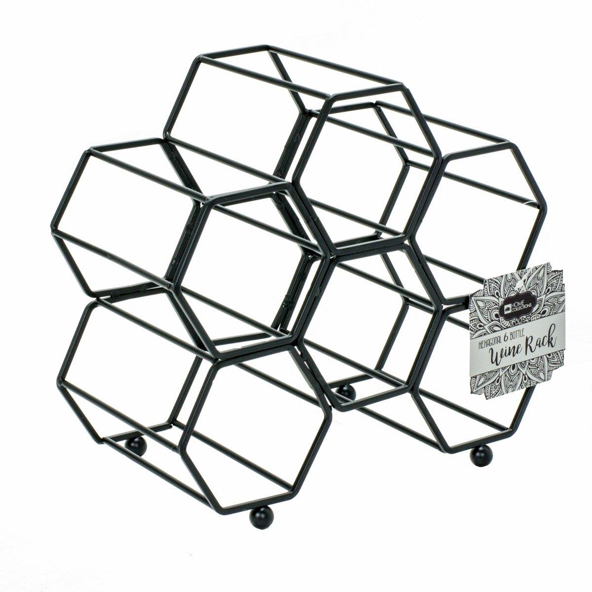DINY Home & Style Hexagonal Free Standing Wine Rack (Black)