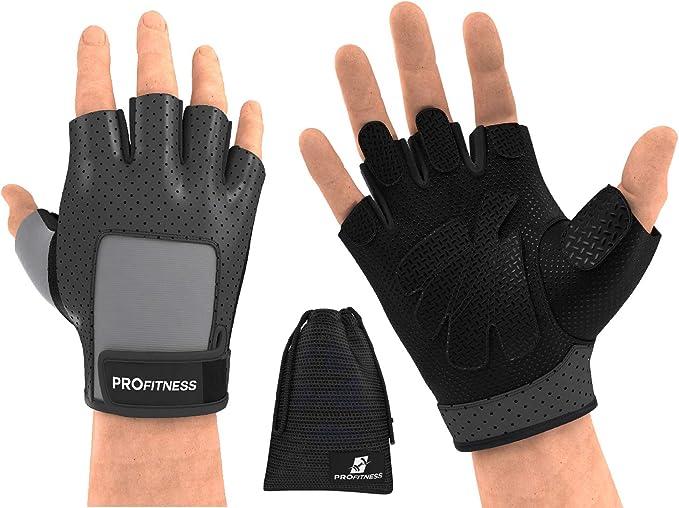 Mens Fingerless Gloves Grip Gripper Running Training Work Garden Gym  Exercise