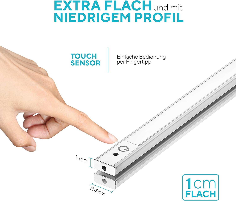 15cm LED Unterbauleuchte 15K, Sensor Switch, flach, überall montieren,  aufkleben, Inklusive Alle Zubehör, LED Nachtlicht, kühles Weiß, Neutralweiß