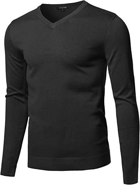 Men Stylish Knitted  V Neck Long Sleeve Solid Tops Sweaters  Fashion Pullovers