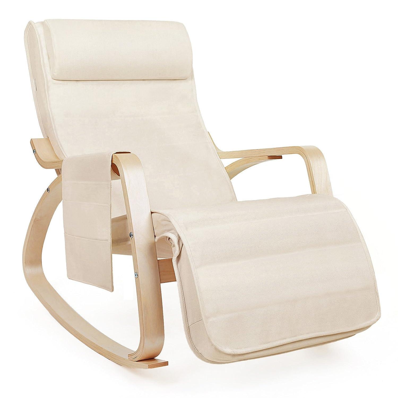 SONGMICS Fauteuil à Bascule Rocking Chair Avec Repose Pieds Réglable à 5  Niveaux Design Charge Maximum: 150 Kg Lin Beige LYY12M: Amazon.fr: Cuisine  U0026 Maison