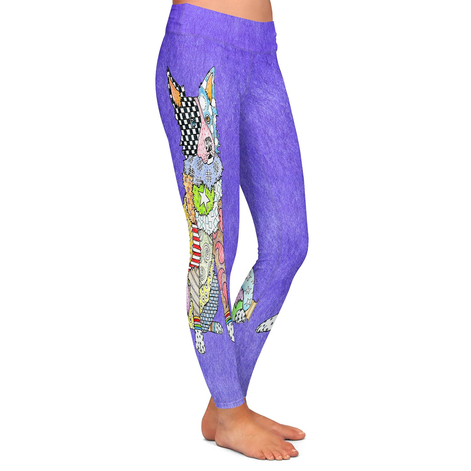 Athletic Yoga Leggings from DiaNoche Designs by Artist Marley Ungaro Border Collie Indigo
