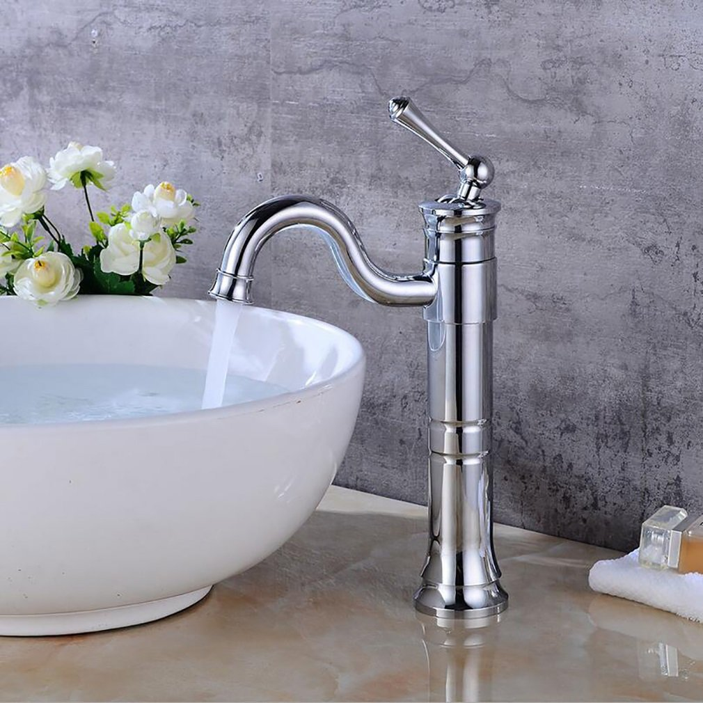 FeN Hot And Cold Taps,Basin Counter Basin Rotation Faucet,Bathroom Waterfall Tap,Retro Brass Single Spout Sink Mixer