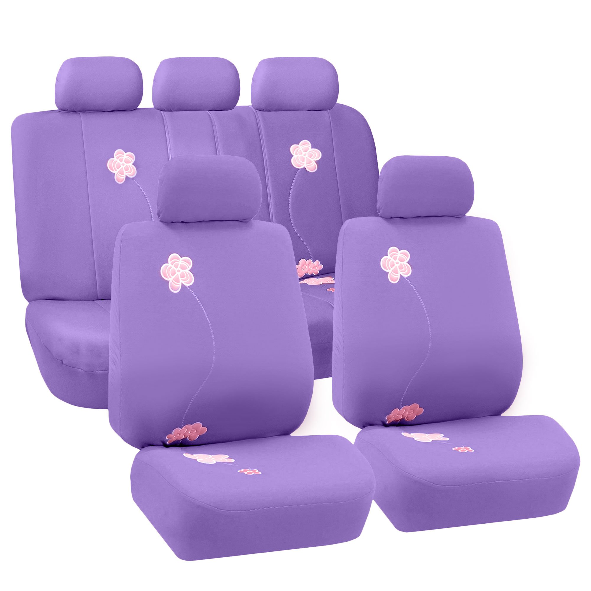 FH Group Universal Fit Full Set Floral Embroidery Design Car Seat Cover, (Purple) (FH-FB053115, Airbag Compatible and Split Bench, Fit Most Car, Truck, SUV, or Van) by FH Group