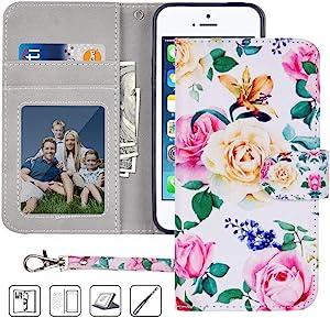 iPhone 5S Wallet Case,iPhone 5 Wallet Case,iPhone SE Wallet Case,MagicSky Premium PU Leather Flip Folio Case Cover with Wrist Strap,Card Slots,Cash Pocket,Kickstand for Apple iPhone 5S/5/SE(Flower)