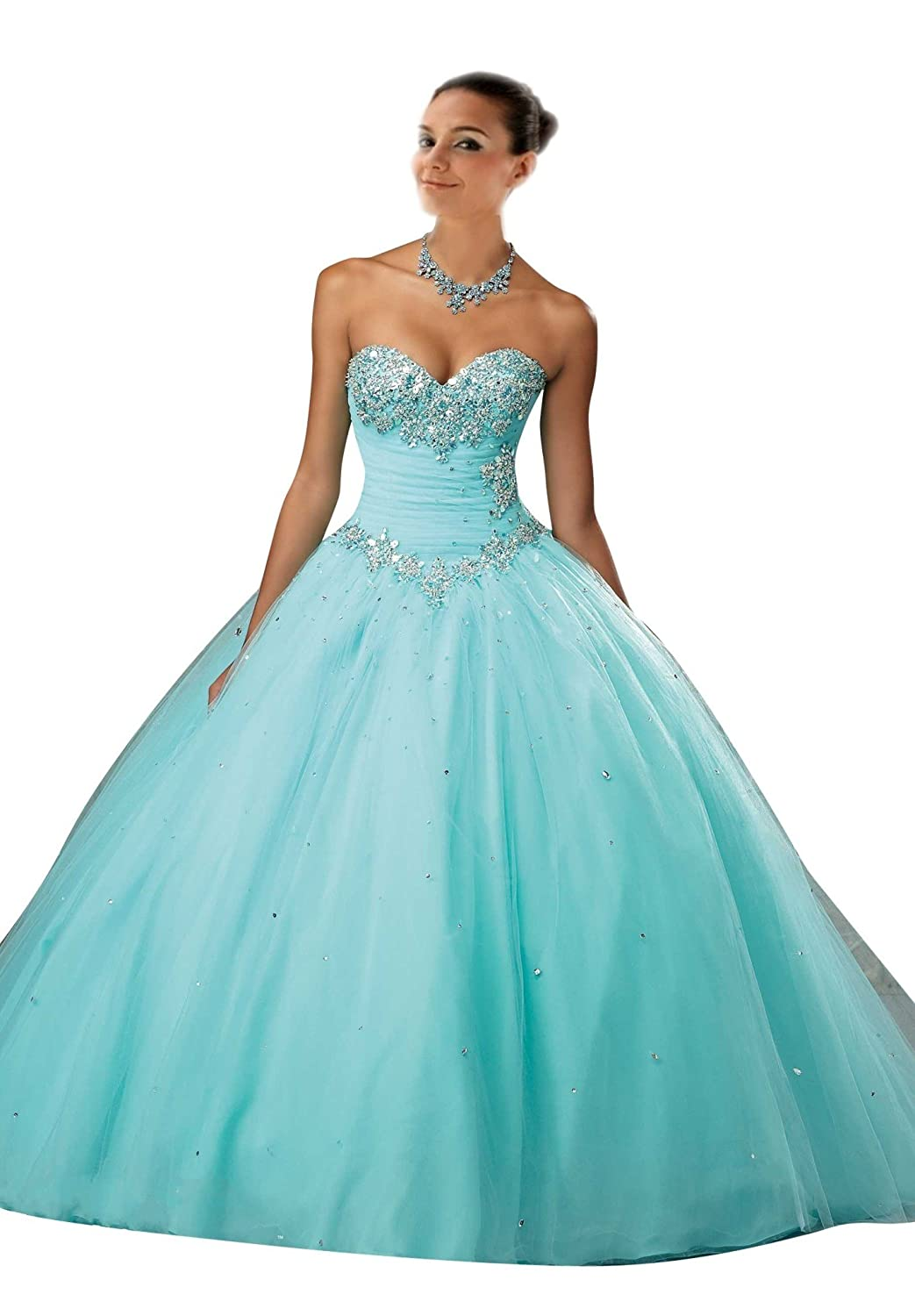 Mollybridal Crystal Sweetheart Ball Gowns Quinceanera Gown Dresses ...