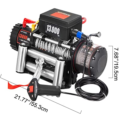 CXRCY Electric Winch 13000 lb Load Capacity 12V Truck Winch Kit with 80ft//24m Steel Rope Waterproof Off Road Boat Winch for Jeep,Truck,SUV with Wirless Remote and Corded Control