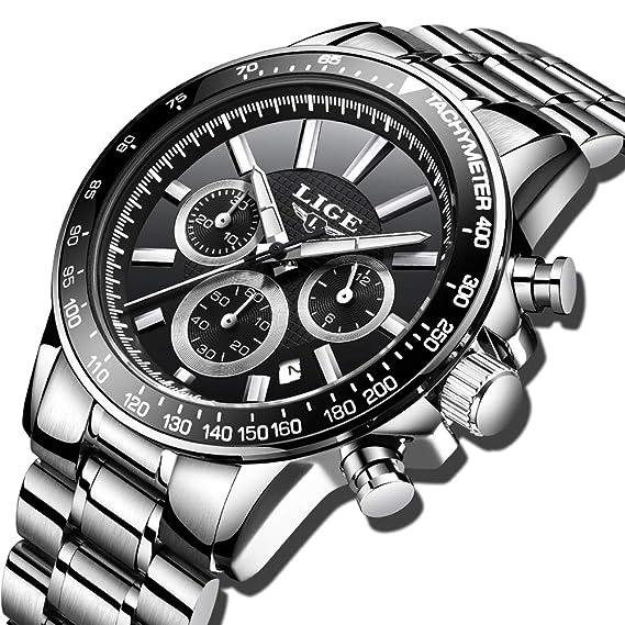 adbc864e3674 Relojes para Hombre Acero Inoxidable Impermeable Reloj Hombres Marca LIGE Cronógrafo  Cuarzo Analógico Reloj Vestido Negocios Pulsera Plata Reloj Negro de ...