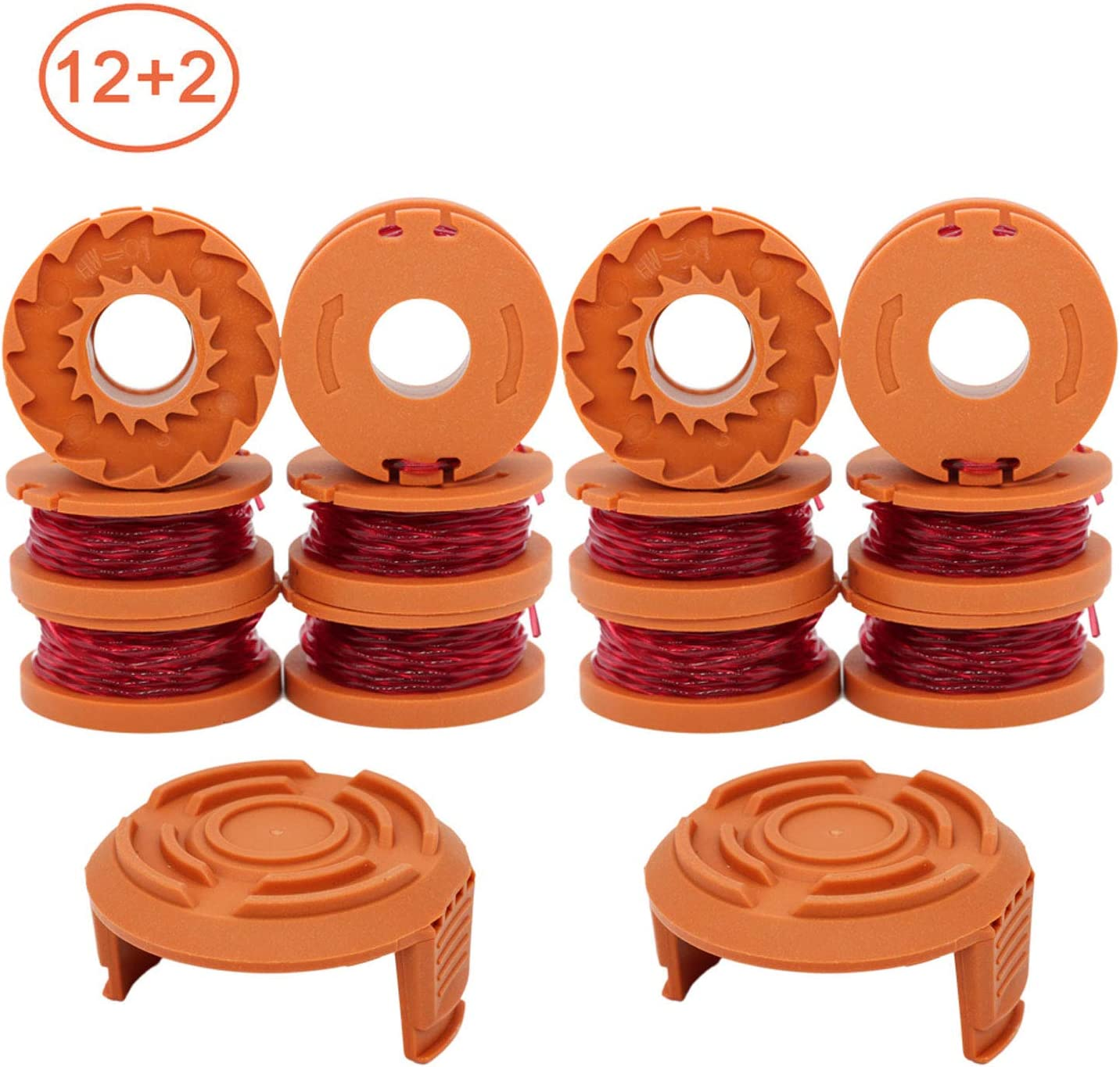 """RONGJU 12-Pack Replacement Trimmer Spool Line for Worx WA0010 WG180 WG163 WG175 Electric Trimmer/Edger Weed Eater Line 10ft 0.065 """"+ 2 Pack Spool Cap Covers (12 Spools, 2 Caps)"""