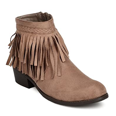 Braiding and Fringe Block Heel Boots