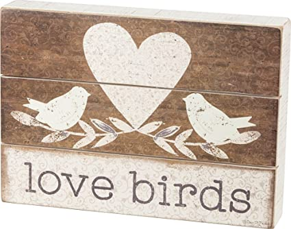 Amazon Primitives By Kathy Slat Box Sign Love Birds Home Decor
