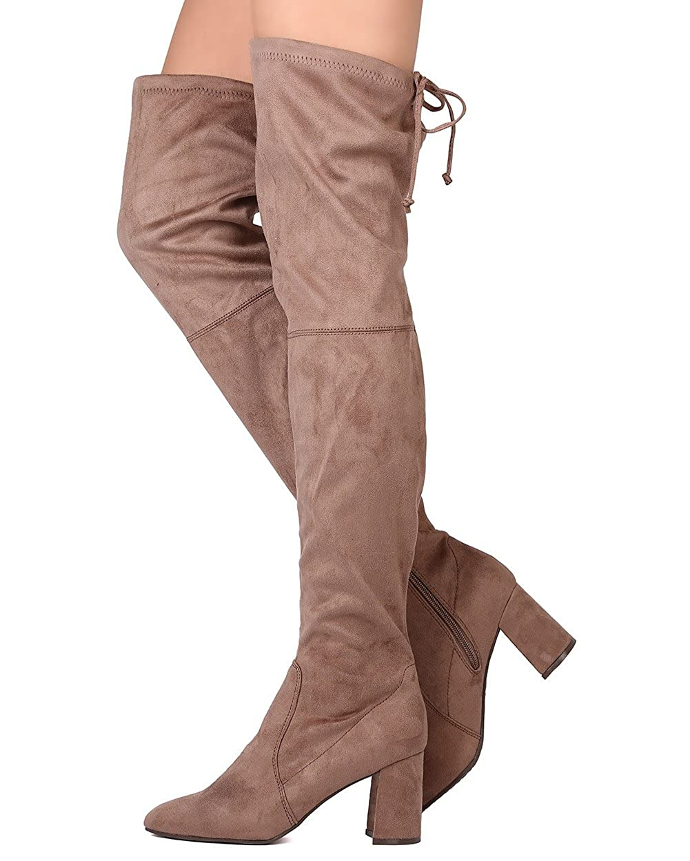 Breckelles Women Faux Suede Thigh High Drawstring Chunky Heel Boot GA96