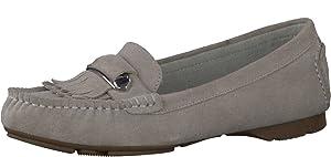 TAMARIS Women's Leather Slip On Penny Loafer Shoe