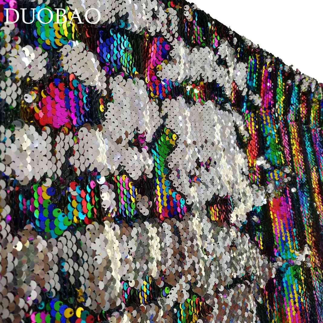 DUOBAO Sequin Backdrop 20FTx10FT Rainbow to Silver Shimmer Backdrop Mermaid Reversible Sequin Backdrop Curtain Bridal Shower Photo Booth Backdrop