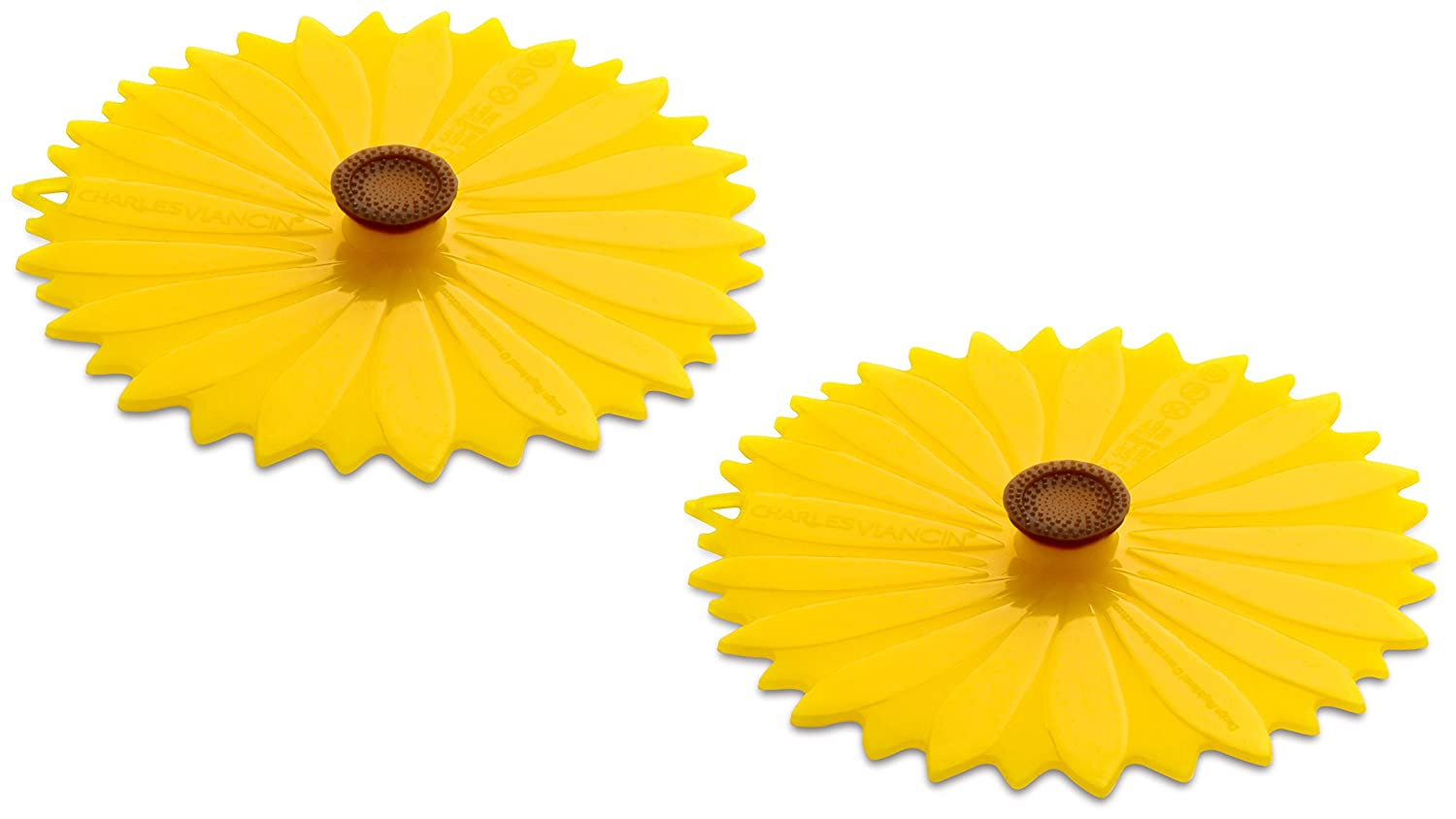 Charles Viancin Airtight Silicone Drink Covers, Set of 2, Sunflower 1105