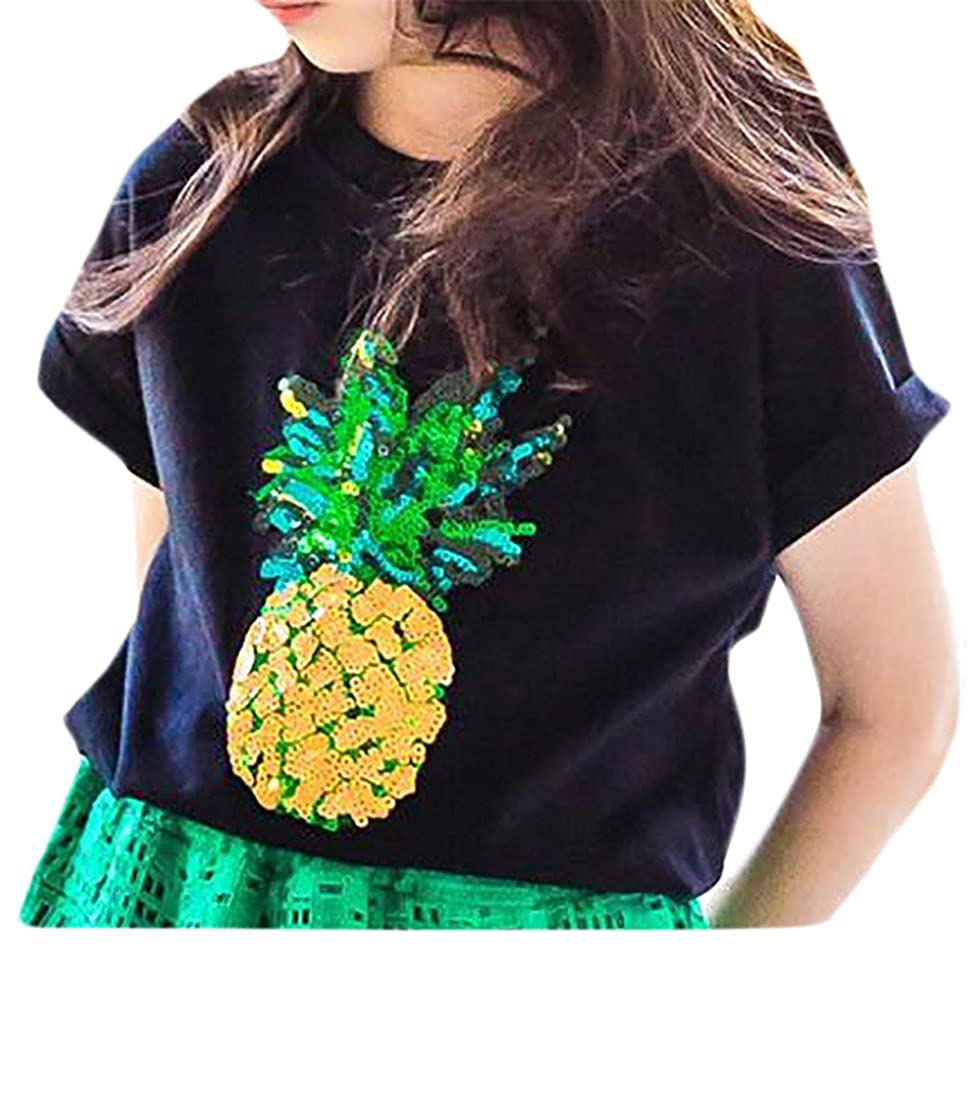 P&E Girls Pineapple Printed Crewneck Short Sleeve Top Tee T-Shirts