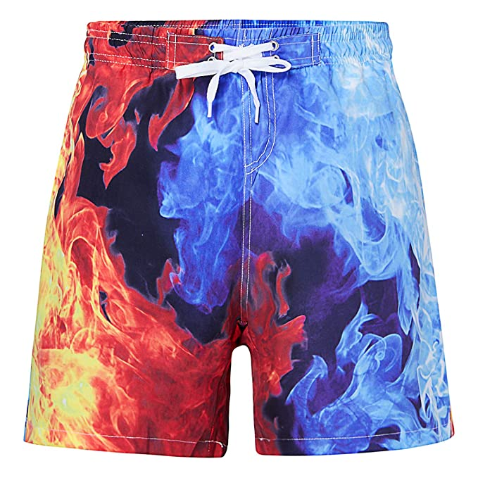 56ad9e8995 UNICOMIDEA Boys' Swim Trunks Casual Bathing Suits for Kids Quick Dry  Swimsuits Ice Fire 3D