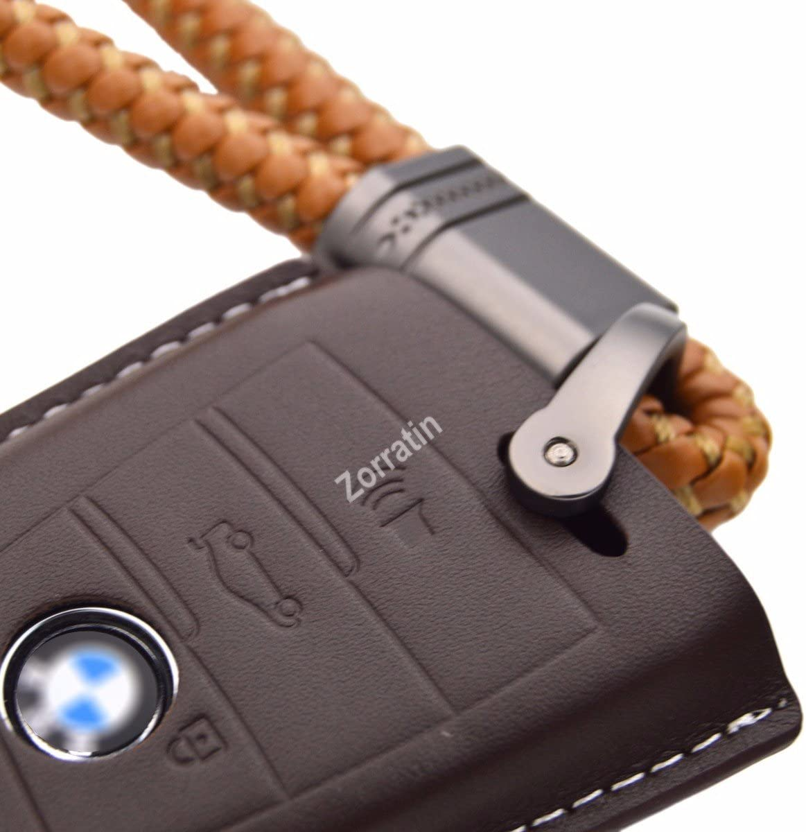 Real Leather Smart Key Case Cover Trim w// Key Chain fit BMW key fob X5 X6 F15 F16 2015 2016 2017 2018