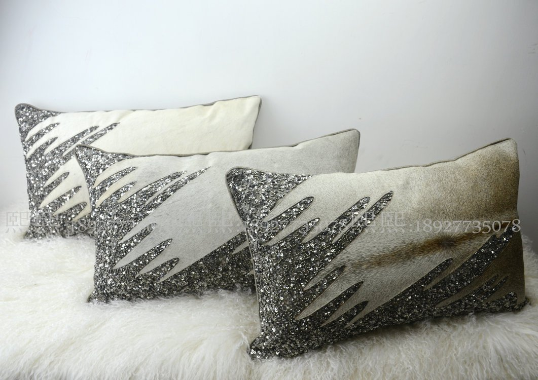 HOMEE India Imported Pillow Cushion Psoriasis Minimalist Modern Pillow Sample House on Chip Leather Sofas with Gray Stripe,90131,3050Cm