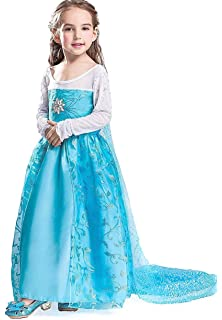 Freefly Girls Frozen Princess Dress Cosplay Party Fancy Outfit Kids