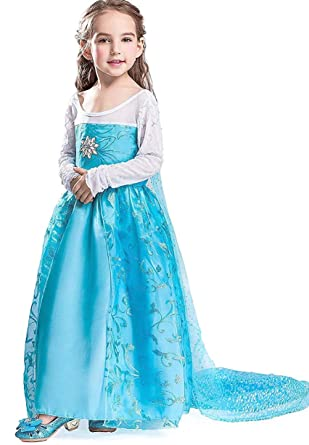 FREEFLY Girls Frozen Princess Dress Cosplay Party Fancy Outfit Kids   Amazon.co.uk  Clothing abf13ad55c23