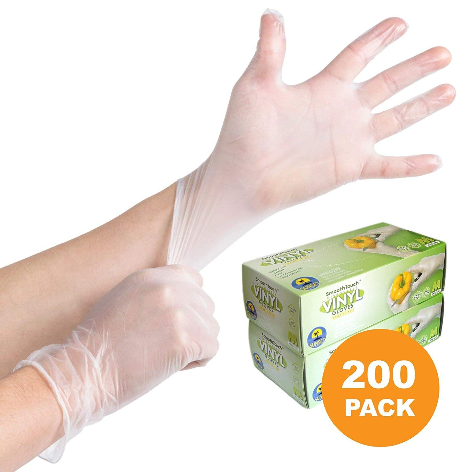 200 Disposable Viny Gloves, Non-Sterile, Poweder Free, Smooth Touch, Food Service Grade, Large Size [2x100 Pack]