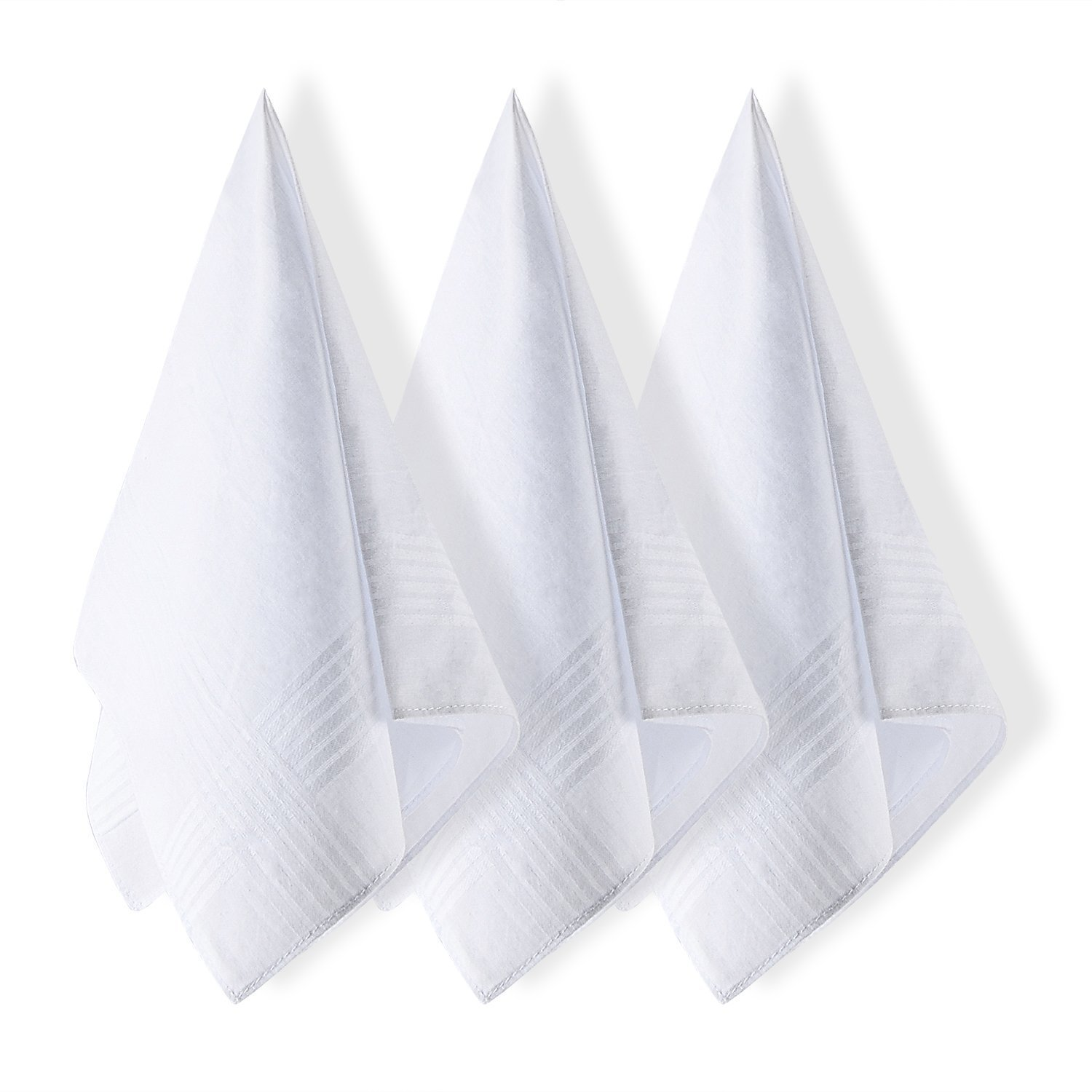 Selected Hanky Mens Handkerchiefs 100/% Cotton White with Stripe 6 Pack Hankies