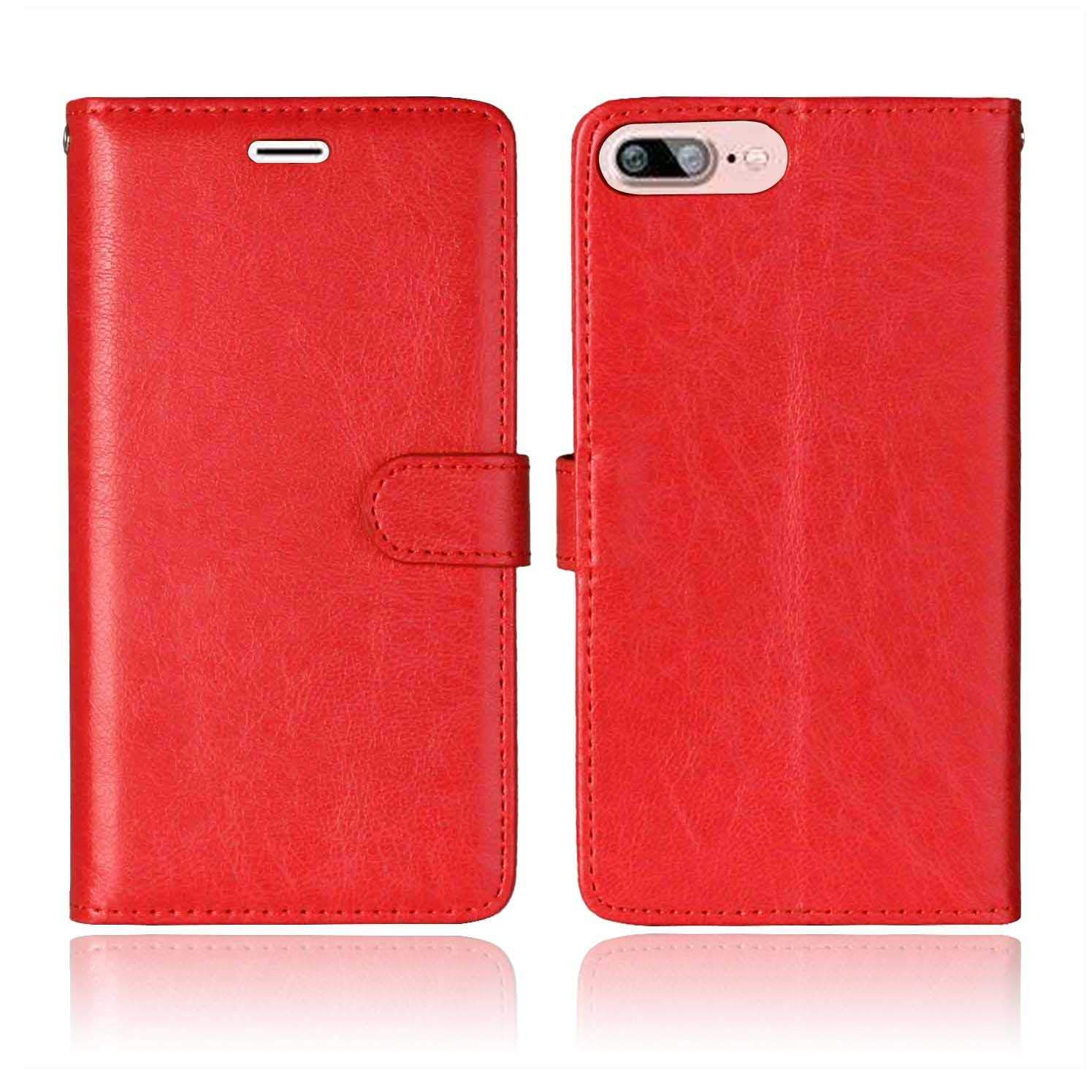 CAXPRO iPhone 7 Plus/iPhone 8 Plus Case, Shockproof Wallet Cover for Apple iPhone 7 Plus/iPhone 8 Plus, Slim Leather Notebook Style Case with Soft TPU Inner Bumper, Red by CAXPRO