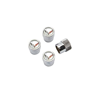 GM Accessories 22831529 Valve Stem Caps with Colored Corvette Logo on Silver Colored Background (Pack of 4): Automotive