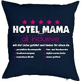 Danke sagen Print - Bezug für Kissen 40 x 40cm - HOTEL MAMA - all inclusive - mit viel Liebe …kostenloses WLAN… Geschenkidee Mütter Tag Sohn Mutter - Print Kissenhülle in dunkelblau : )