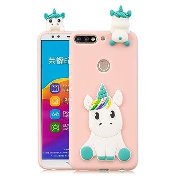 HopMore Funda para Huawei Y7 2018 / Honor 7C Silicona Dibujos Panda Unicornio Divertidas TPU Gel Kawaii Ultrafina Slim Case Antigolpes Caso Protección ...