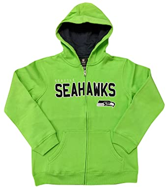 Amazon Com Youth Seattle Seahawks Green Nfl Stated Full Zip Hoodie