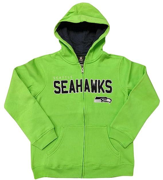 huge discount 53df6 03400 Youth Seattle Seahawks Green NFL Stated Full Zip Hoodie Sweatshirt