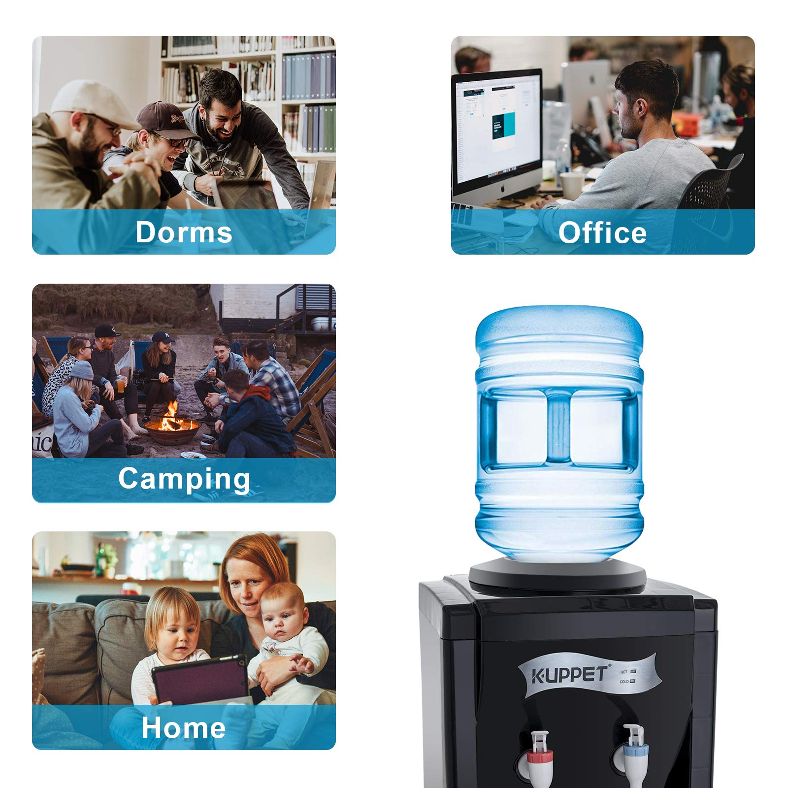 KUPPET 3-5 Gallon Countertop Water Cooler Dispenser-Hot & Cold Water, ideal For Home Office Use(17'', Black) by KUPPET (Image #3)