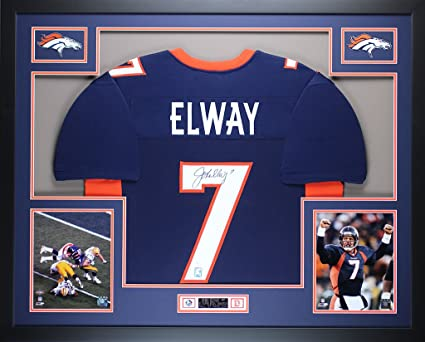 premium selection 3b4c7 edf30 John Elway Autographed Blue Broncos Jersey - Beautifully ...