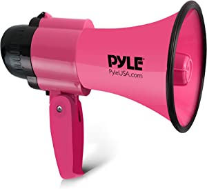 Portable Megaphone Speaker Siren Bullhorn - Compact and Battery Operated with 30 Watt Power, Microphone, 2 Modes, PA Sound and Foldable Handle for Cheerleading and Police Use - Pyle PMP34PK (Pink)