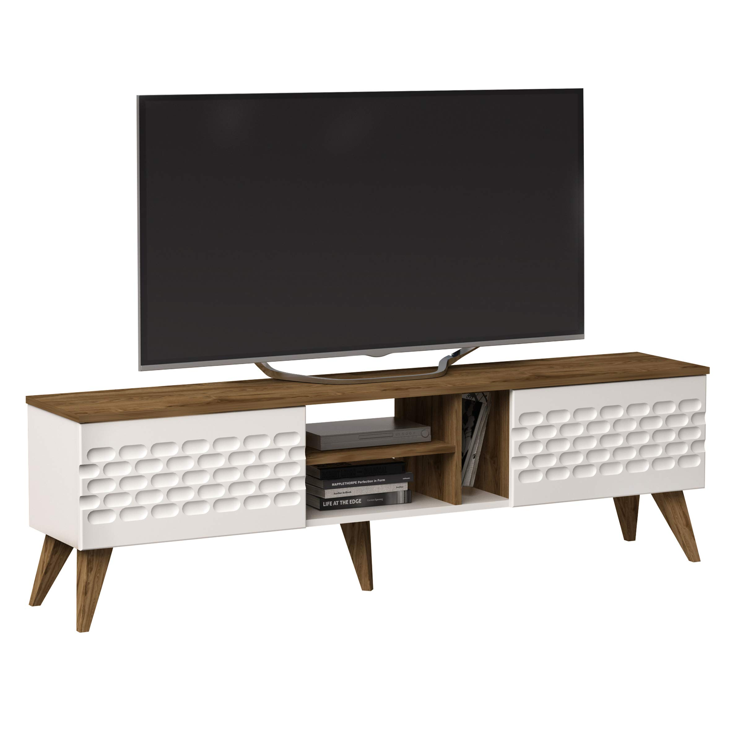 Decorotika Eggea Modern TV Stand Media Console fits up to 70'' TVs with Closed Cabinets and Open Shelves