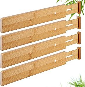 Drawer Dividers Bamboo Organizer Kitchen Clothes Utensils Spring Adjustable Expandable Storage Separators for Bedroom Bathroom Office Set of 4 Pack